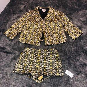 Metallic NEW shorts and jacket set!!